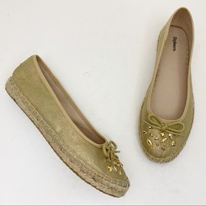 STYLE & CO. Valor Gold Canvas Espadrille Flats